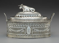 A Michael Hormer Silver Covered Butter Dish with Couchant Cow-Form Finial, Dublin, Ireland, late 18th century Mar