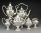 A Fine Six-Piece Shreve & Co. Partial Gilt Silver Hand Hammered Tea and Coffee Service, San Francisco, Californi...