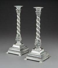 A Pair of Italian Silver Candlesticks, Milan, post-1968 Marks: 925, (star-1195-MI), MADE IN ITALY