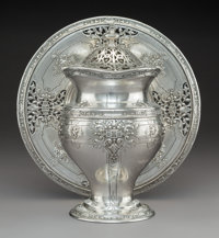 A Grogan Company Silver Covered Vase and Stand, Pittsburgh, Pennsylvania, early 20th century Marks: GROGAN COM