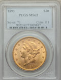 Liberty Double Eagles: , 1893 $20 MS62 PCGS. PCGS Population: (2172/1022). NGC Census: (2619/874). MS62. Mintage 344,200. ...