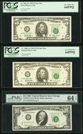 Small Size, Fr. 1982-E* $5 1993 Federal Reserve Star Note. PCGS Very Choice New 64PPQ;. Fr. 1985-G* $5 1995 Federal Reserve Star Note.... (Total: 3 notes)