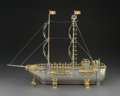 Silver & Vertu:Hollowware, A Yossi Swed Partial Gilt Silver Ship-Form Menorah with Display Case, 1992-1993. Marks: (S over D monogram), (D butterfly S)... (Total: 2 Items)