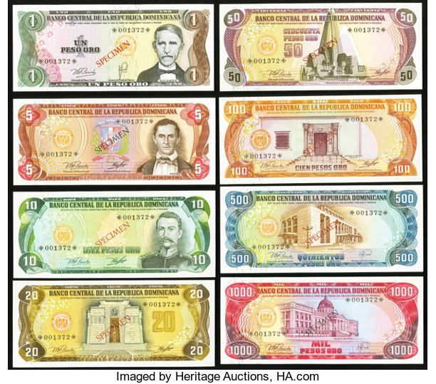 World Currency Matching Serial Number 001372 Dominican Republic Banco Central Dela Republica Dominicana