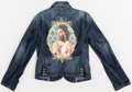 Prints & Multiples, Kehinde Wiley X PAIGE. Denim Jacket, 2006. Silkscreen in colors with embroidery on jean jacket. 25 x 15 inches (63.5 x 3...