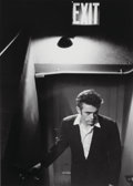 Photographs, Roy Schatt (American, 1909-2002). James Dean Under Exit Sign, circa 1954. Gelatin silver, printed later. 17-1/2 x 12-5/8...
