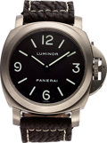 Timepieces:Wristwatch, Panerai, Pam 116 E 0170/1200, Luminor Titanium Base, Tobacco dial, Circa 2002 . ...