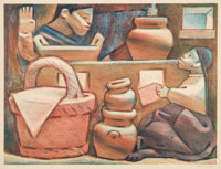 Jean Charlot (1898-1979) Mexican Kitchen, 1946 Lithograph in colors on paper 12-3/4 x 16-3/4 inch