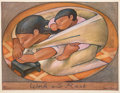 Prints & Multiples, Jean Charlot (1898-1979). Work and Rest, 1956. Lithograph in colors on paper. 15 x 19-7/8 inches (38.1 x 50.5 cm) (image...