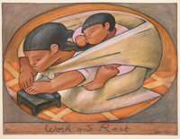 Jean Charlot (1898-1979) Work and Rest, 1956 Lithograph in colors on paper 15 x 19-7/8 inches (38