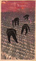 Prints & Multiples, Antonio Frasconi (1919-2013). Lettuce Workers #4, 1968. Woodcut in colors on Japon paper. 20 x 11-1/2 inches (50.8 x 29....