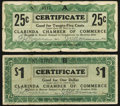 Obsoletes By State:Iowa, Clarinda, IA- Clarinda Chamber of Commerce 25¢; $1 Apr. 10, 1933.... (Total: 2 notes)