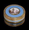 Decorative Arts, Continental:Other , A French Gold and Enamel Snuff Box, mid-19th century. Marks: 2291,(eagle) (eagle). 3/4 x 2-3/4 inches (1.9 x 7.0 cm). 2.9 o...