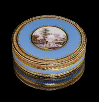 A French Gold and Enamel Snuff Box, mid-19th century Marks: 2291, (eagle) (eagle) 3/4 x 2-3/4 inches (1.9 x 7.0