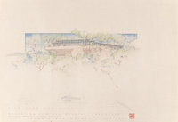 Frank Lloyd Wright (American, 1867-1959) Three Drawings and Renderings of the Maurice Greenberg House, Ottawa (
