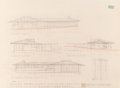 Decorative Arts, American, Frank Lloyd Wright (American, 1867-1959). Two Renderings for theDavid Weisblat Houses, The Acres (Galesburg Country Homes...(Total: 2 Items)