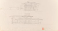 Frank Lloyd Wright (American, 1867-1959) Five Renderings and Drawings for the Erdman-Peiss Dwellings, Madison