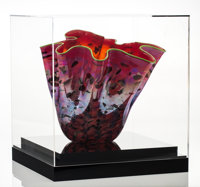 Dale Chihuly (American, born 1941) Ruby Macchia Vase with Lime Green Lip, circa 2001, Portland Press