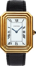 "Timepieces:Wristwatch, Cartier ""Christallor"", 18k Triple Step Bezel, Manual wind, Circa 1970's. ..."