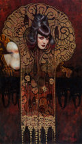 Paintings, Olivia De Berardinis (American, b. 1948). Danse Macabre, 2000. Oil on board. 39.5 x 22.5 in.. Signed and dated lower rig...