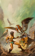 Paintings, Boris Vallejo (American, b. 1941). The Maker of the Universes, paperback cover, 1977. Oil on board. 27 x 17 in.. Signed ...