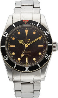 """Tudor, VERY RARE Ref: 7924, Big Crown Submariner, """"Red Triangle"""" Bezel, """"Gilt"""" Dial, Manufactured: 1..."""