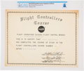 "Explorers:Space Exploration, NASA: Neil Armstrong's 1962 ""Flight Controllers Course"" Certificate Directly From The Armstrong Family Collection™, Certif..."