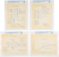 Explorers:Space Exploration, Lockheed F-104 Starfighter: Set of Four Original 1956 Flight Test Schematics Directly From The Armstrong Family Collection... (Total: 4 Items)