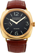 Timepieces:Wristwatch, Panerai, PAM00197, Radiomir 8-Days, 18K Rose Gold, H083/300, Circa2005. ...