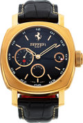 Timepieces:Wristwatch, Panerai/Ferrari, Ref. FER00007, 8-Day GMT, 18K Pink Gold, No. F A082/300, Circa 2006. ...