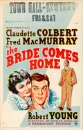 "Movie Posters:Comedy, The Bride Comes Home (Paramount, 1935). Window Card (14"" X 22"")....."