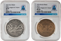 Two Buffalo International Airport Fiftieth Anniversary 1926-1976 Commemorative Medals - Silver MS 66 NGC, Bronze MS 68 N...