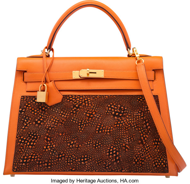 58095b30db7e Hermès Special Order Horseshoe 32cm Orange H Evercolor