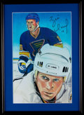 Autographs:Photos, Brett Hull St. Louis Blues Signed Print....