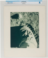 Apollo 11: Large Moon Boot Print Vintage NASA Color Photo on Presentation Mat Directly From The Armstrong Family C
