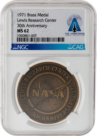 NASA: Lewis Research Center 30th Anniversary 1941-1971 Commemorative Bronze Medal MS 62 NGC, Directly From The Armstrong...