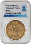 """Explorers:Space Exploration, Apollo 11 and 17: """"Apollo XI First Manned Landing on the Moon"""" / """"Apollo XVII Last Manned Landing in This Century"""" Brass Medal..."""