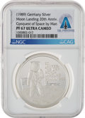 Explorers:Space Exploration, Apollo 11: German 20th Anniversary Moon Landing Silver Medal PF 67 Ultra Cameo NGC, Directly From The Armstrong Family Collect...