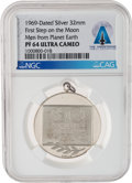 Explorers:Space Exploration, Apollo 11: 1969 Moon Landing Commemorative Silver Medal PF 64 Ultra Cameo NGC, Directly From The Armstrong Family Collection™,...