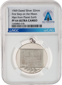 Apollo 11: 1969 Moon Landing Commemorative Silver Medal PF 64 Ultra Cameo NGC, Directly From The Armstrong Family Collec...