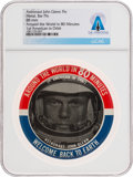 """Explorers:Space Exploration, John Glenn """"Around the World in 80 Minutes"""" Original Pinback Picture Button Directly From The Armstrong Family Collection™..."""