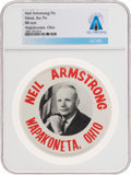 """Explorers:Space Exploration, Wapakoneta: """"Neil Armstrong Wapakoneta Ohio"""" Original Picture Pinback Button Directly From The Armstrong Family Collection..."""