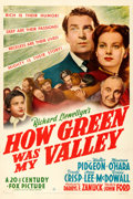 "Movie Posters:Drama, How Green Was My Valley (20th Century Fox, 1941). One Sheet (27"" X 41"") Style B.. ..."