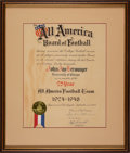 Football Collectibles:Others, 1949 Jay Berwanger 25 Year All American Team Award Signed by Warner, Leahy, Walsh, etc. - Berwanger Collection....