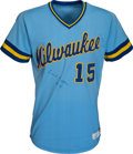 Baseball Collectibles:Uniforms, 1982 Cecil Cooper Game Worn & Signed Milwaukee Brewers Jersey. ...