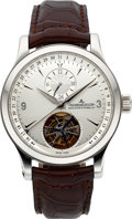 Timepieces:Wristwatch, Jaeger-LeCoultre, Master Control Tourbillon Automatic with Date,Stainless Steel, Ref. 146.8.34.S, Circa 2009. ...