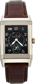 Timepieces:Wristwatch, Jaeger LeCoultre, Ref: 270.3.36, 18k WG Reverso Calendar Day Date, Circa 2003. ...