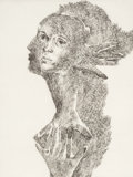 Prints & Multiples, Marisol Escobar (1930-2016). Self Portrait, 1973. Drypoint on paper. 23-1/2 x 17-5/8 inches (59.7 x 44.8 cm) (sight). A....