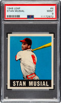 Baseball Cards:Singles (1940-1949), 1948 Leaf Stan Musial #4 PSA Mint 9 - Pop Three, None Higher! ...