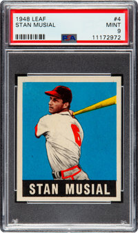 1948 Leaf Stan Musial #4 PSA Mint 9 - Pop Three, None Higher!